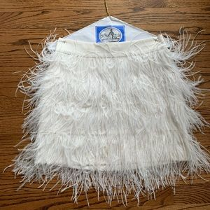 Club Monaco White Ostrich Feather Skirt